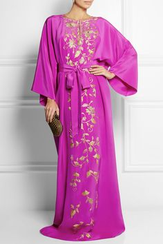 Oscar de la Renta|Embellished silk-cady maxi kaftan|NET-A-PORTER.COM