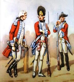 Regiment of the Lower Crown Mace (Polna Koronna Bulawa) in 1775. From left to right: officer, officer of grenadiers, musketeer. Fig. B. Gembarzewski.