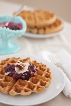 Whole wheat coconut waffles - cookieandkate.com