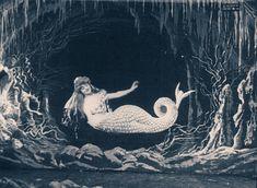 """Video: """"The Mermaid - La Sirène - A Sereia - Georges Méliès - 1904 Sirens, Siren Mermaid, Mermaid Art, Mermaid Paintings, Tattoo Mermaid, Water Nymphs, Mermaids And Mermen, Fantasy Mermaids, Vintage Mermaid"""