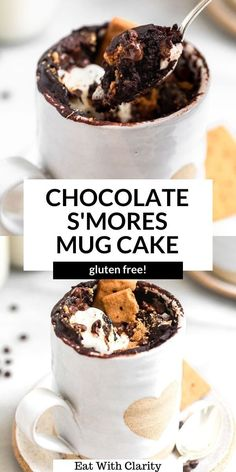 This gluten free chocolate mug cake features marshamallows, lots of chocolate chips and graham crackers for a delicious s'mores flavor. it's vegan, easy to make and ready in jus 5 minutes! #mugcake #veganmugcake