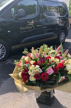 by Rodgers The Florist, Manchester. Flowers Uk, Luxury Flowers, 100 Red Roses, Red Rose Arrangements, Celebration Balloons, Rose Hat, Rose Lily, Beautiful Red Roses, Hand Tied Bouquet