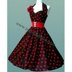 Rockabilly Dress Black With Red Dots