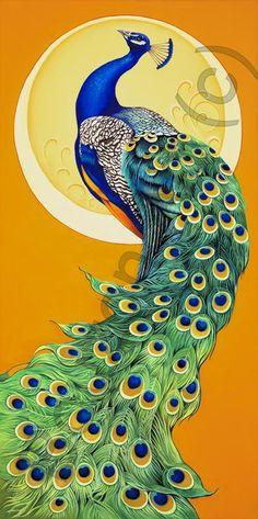 Peacock Moot n ~ Orestes Bouzon Peacock Painting, Peacock Art, Peacock Colors, Peacock Design, Silk Painting, Peacock Drawing, Peacock Images, Pfau Tattoo, Phoenix Bird Tattoos
