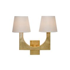 Worlds Away FRITZ G Gold Leaf 2 Arm Sconce With White Linen Shades