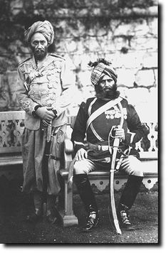 They are Subadar-Major Molladad Khan of the 20th (standing) and Risaldar-Major Jahour Khan of the 6th Bengal Cavalry