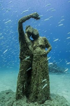 Jason deCaires Taylor has just completed Europe's first underwater museum with his underwater sculpture park, Museo Atlantico, in the Canary Islands. Underwater Sculpture, Underwater Photos, Underwater World, Underwater Photography, Film Photography, Street Photography, Landscape Photography, Nature Photography, Fashion Photography