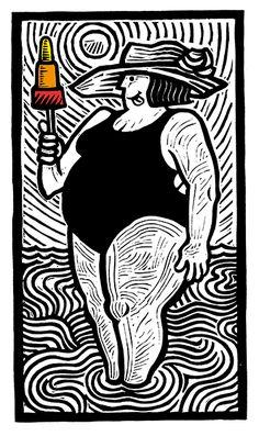 The Lick - Linocut by Hugh Ribbans