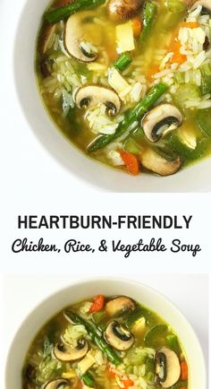 Diet Recipes Heartburn-friendly Chicken, Rice, and Vegetable soup. This deliciously hearty soup is the perfect recipe to try if you are on a GERD or acid reflux diet. Healthy Recipes, Diet Recipes, Cooking Recipes, Good Recipes, Diet Meals, Dairy Free Soup, Acid Reflux Recipes, Low Acid Recipes, Gerd Diet