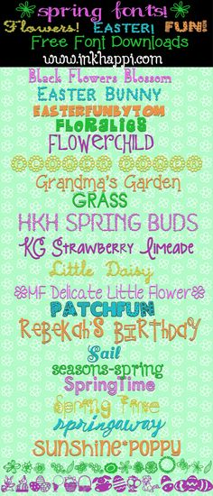 Spring fonts including flowers and Easter fonts ~~ {22 free fonts with easy download links}