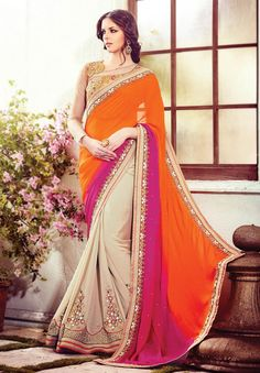 Pink ,Orange and Cream Latest Bollywood Saree Online SKU No:HP-BLUESTAR-1510