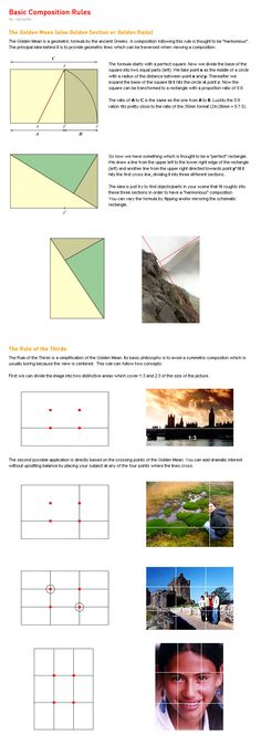Rule of thirds & Leading lines Basic Composition Rules by ~lucuella on deviantART Photography Cheat Sheets, Photography Basics, Photography Lessons, Photography Tutorials, Digital Photography, Scenic Photography, Aerial Photography, Night Photography, Photography Composition Rules