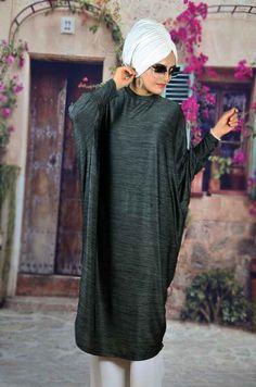 Aişe Tesettür - Antrasit Bol Kesim Tesettür Tunik Istanbul, Shawl, High Neck Dress, Dark, Sweaters, Dresses, Fashion, Turtleneck Dress, Vestidos