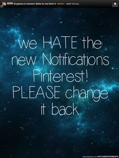 Pinterest Notification Update   April 2014 -- Pinterest did revert back to the old design. Thank you.