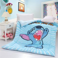 Character Blue Stitch Pokemon Bedding Sets For Single Bed And Duvet Cover In Charming Kids Bedroom Interior Decoration Ideas Lilo Stitch, Stitch Disney, Cute Stitch, Stitch Cartoon, Cute Bedding, Kids Bedding Sets, Disney Bedding, Disney Bedrooms, Simple Bed