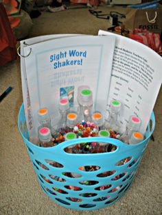 Sight Word Shakers! I made these for a 1st grade class I was working with. I cut out 60 sight words that I received from the teacher, and color coated the bottles according to which list they were from (pre-primer, primer, and 1st grade). There are 4 words per bottle. I have a students guide (on the left) and a teachers guide (on the right, has every sight word used so the teacher can know which sight words are being practiced). So much fun for the students, and so fun to make!