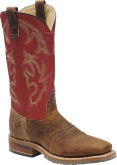Women's Double H Boot Wide Square Work Roper Old Town - Light Brown/Red