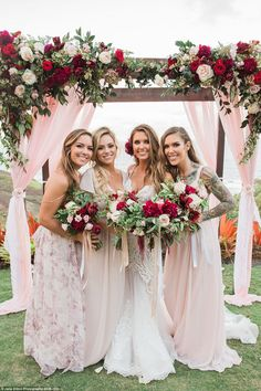 Her bridesmaids: The bride with her two sisters Samantha and Casey as well as a blonde pal...
