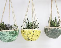 Set of 3 succulent hanging planter - Wall Succulent Planter - Plant Hanger - Ceramic Planter - Plant Holder - Succulent Planter - Plant Pot Succulent Hanging Planter, Diy Planters, Ceramic Planters, Hanging Planters, Planter Pots, Planter Ideas, Succulent Wall, Succulents Drawing, Keramik Vase