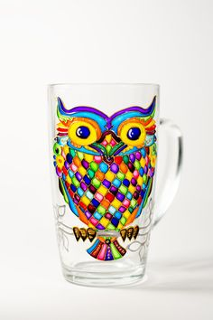 Owl Mug Gift Large Owl Cup Owl Home Decor Hand Painted Coffee Mug 15 oz custom mugs wholesale coffee mug tea mugs owl cup funny mug glass tea mug Gift for her Owl mug Gift owl coffee mug gift mug unique coffee mug coworker gift owl home decor USD Bottle Painting, Bottle Art, Bottle Crafts, Glass Painting Designs, Pottery Painting Designs, Painted Wine Glasses, Painted Wine Bottles, Stained Glass Art, Stained Glass Designs