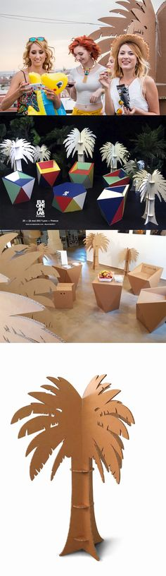 Cardboard palms for any event! Every day can be summer with the cardboard palm trees designed by Cartonlab #palmtrees  #palm #cardboardtree