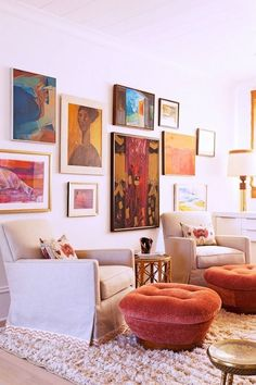angie hranowsky. bright paintings surround this living room giving your guest something to admire at all times!