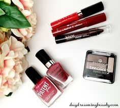Drugstore beauty items for an affordable Valentine's Day look: wet n wild, Sally Hansen, Jordana, essence, NYX and NYC cosmetics.