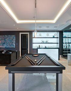 8ft American Modern Pool Table in oak #E4 (black oak finish) with Simonis black cloth. #LuxuryPoolTables #Modern #PoolDining