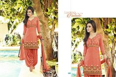 Gorgeous readymade orange cotton jacquard patiala suit