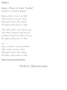 Keep a Poem in Your Pocket  (Printable version on bottom of page)