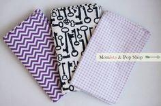 Flannel Baby Burp Cloth Gift Set Of 3 // Keys, Purple Chevron, Purple Plaid by Momista & Pop Shop