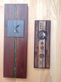 Hardwood, glass and clay clocks. From the studio of JulieAnne Hage. St. Albert,Alberta,Canada