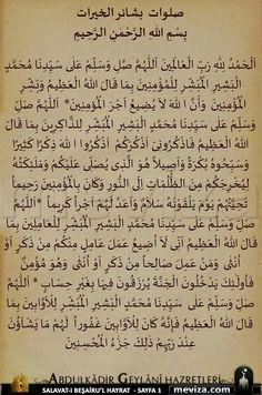 Salavat-ı Beşairu'l Hayrat (Salat der Guten Nachrichten) / Großer Koran (Salat mit den Koranverse). Islam Beliefs, Duaa Islam, Islam Hadith, Islamic Teachings, Islam Religion, Islamic Dua, Allah Islam, Islam Quran, Alhamdulillah