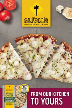 BURSTING with flavor, get your hands California Pizza Kitchen's Artisanal Style Frozen Cheese Pizza! It's made with no artificial flavors and 100% real cheese - ricotta, mozzarella, parmesan, asiago & romano, all over a tomato basil sauce. Try it today! Tomato Basil Sauce, California Pizza Kitchen, Frozen Pizza, Artisan Cheese, Cauliflower Crust Pizza, Ricotta, Mozzarella, Parmesan, Hands
