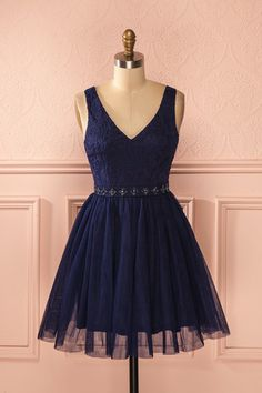 Katya Night - Navy blue lace and tulle beaded dress