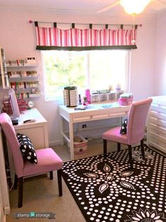 "Our August Studio Showcase winner is Lisa M! The colorful pink decor really adds such a sweetness to this well-organized space. The design of this room is brand new and it's what Lisa likes to call her ""Empty Nest Consolation"". We know you're going to love seeing photos of this room! Click for more!"