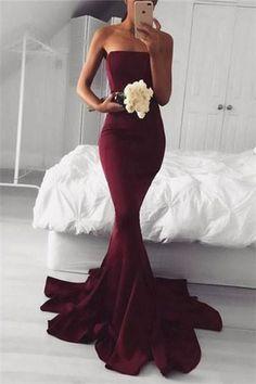 Burgundy Mermaid Strapless Long Evening Prom Dress