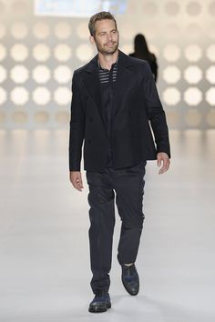 Paul Walker walked the runway for Colcci during Sao Paulo Fashion Week in March 2013.