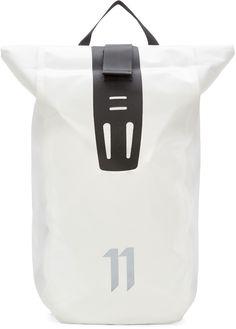 11 by Boris Bidjan Saberi White Velocity Backpack Designer Luggage, Designer Backpacks, Back Bag, Casual Bags, Black Trim, Portable, Laptop Bag, Luggage Bags, Travel Bags
