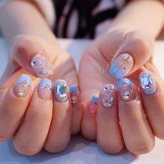 Asian Nail Art, Asian Nails, Korean Nails, Korea Nail Art, Soft Nails, Pastel Nails, Self Nail, Pretty Nail Colors, Bling Nails