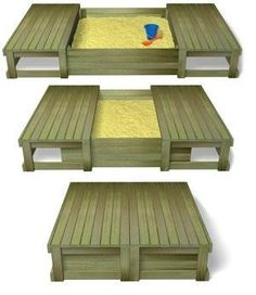 wooden sandbox with cover