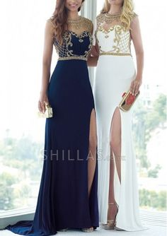 White Scoop Beading Sweep Train Chiffon Dresses - 1650001 - Evening Dresses