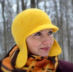 "Купить Шапочка ""Немножко солнца.."" - желтый, шапка с ушками, шапка женская, шапка зимняя"