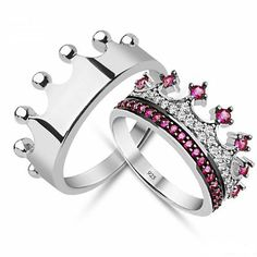 Fuchsia CZ crown promise rings for couples