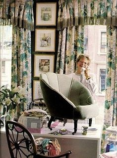 Charlotte Moss in her workshop circa 1991. That chair. Those drapes.