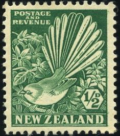 New Zealand, penny. This stamp depicts the fantail (or 'piwakawaka' in Maori) bird. The bird's name derives from its beautiful tail of twelve feathers, which broadly expands as the bird flits about. Postage Stamp Design, New Zealand Art, Nz Art, Maori Art, Kiwiana, Vintage Stamps, Vintage Box, Vanuatu, Stamp Collecting