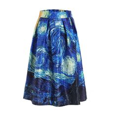 SheIn(sheinside) The Starry Night Print Box Pleated Skirt ($17) ❤ liked on Polyvore featuring skirts, blue, blue skirt, vintage pleated skirt, long blue skirt, vintage skirts and long pleated skirt