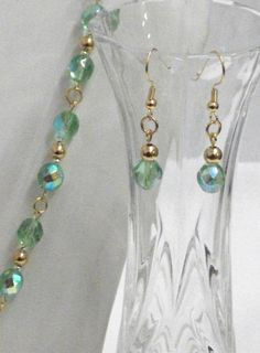 Necklace bracelet and earrings set made with green by Momentidoro, €95.00
