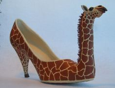 Paper Mache Giraffe shoe OOAK by mosaicmache on Etsy, $195.00