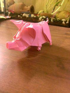 Pink pig origami